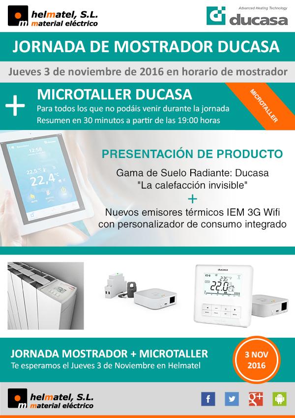 El jueves 3 de noviembre Jornada de mostrador y Microtaller Ducasa en Helmatel