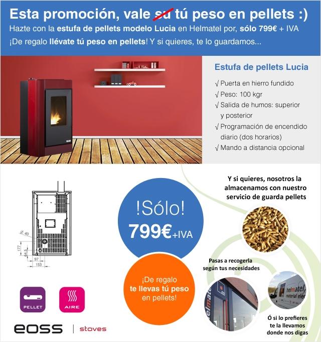 Estufa de pellets modelo Lucia: Esta promoción, vale tú peso en pellets :)